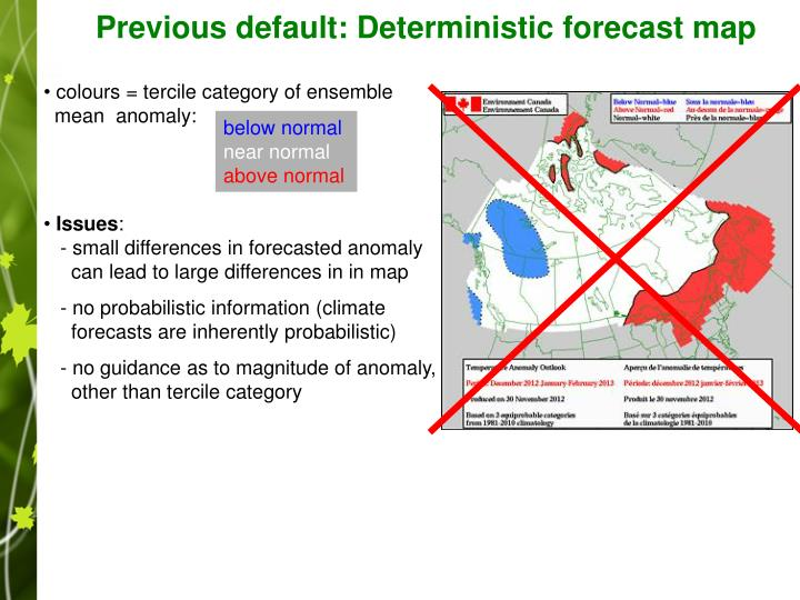 Previous default: Deterministic forecast map