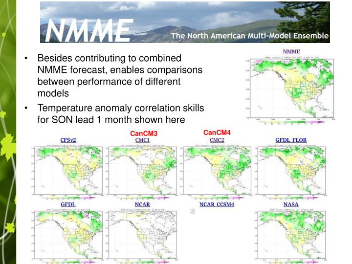 Besides contributing to combined NMME forecast, enables comparisons between performance of different models