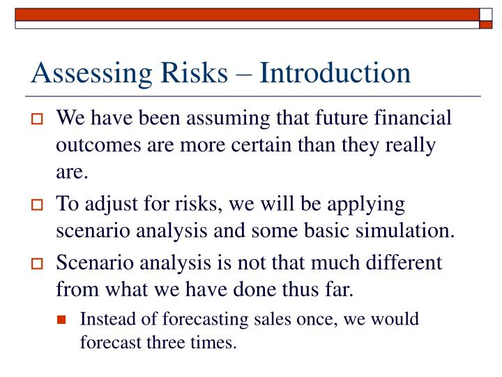 Assessing risks introduction