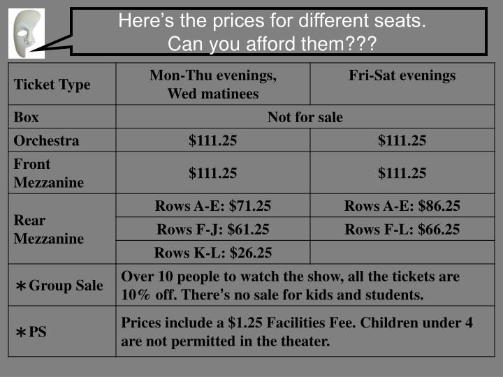 Here's the prices for different seats.