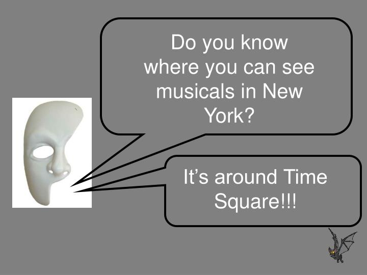 Do you know where you can see musicals in New York?