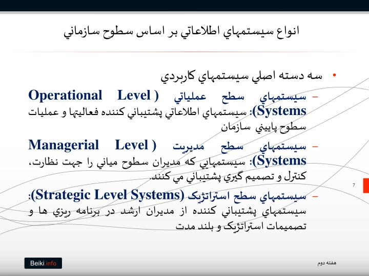 انواع سيستمهاي اطلاعاتي بر اساس سطوح سازماني