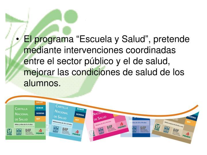 """El programa """"Escuela y Salud"""", pretende mediante intervenciones coordinadas entre el sector público y el de salud, mejorar las condiciones de salud de los alumnos."""