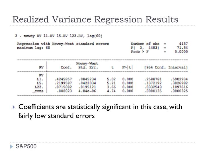Realized Variance Regression Results
