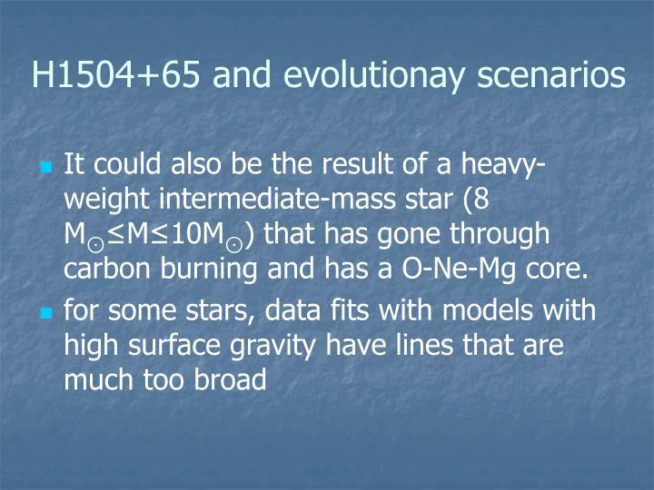 H1504+65 and evolutionay scenarios