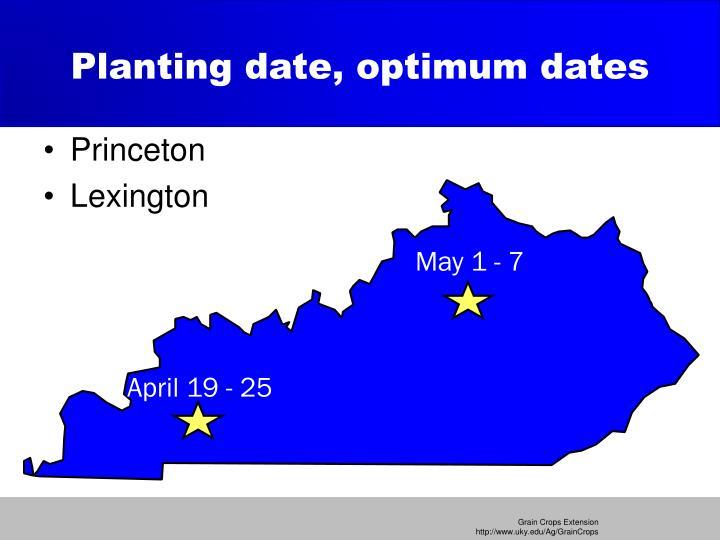 Planting date, optimum dates