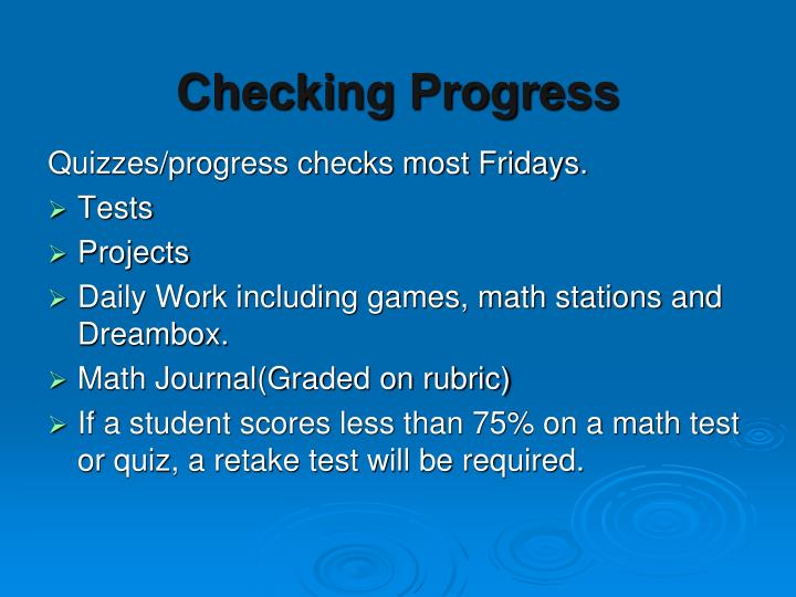 Checking Progress