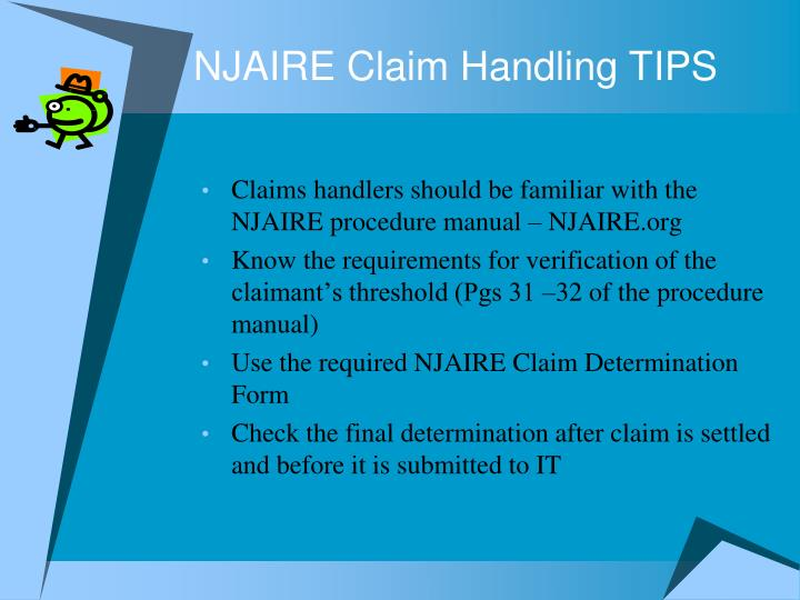 NJAIRE Claim Handling TIPS