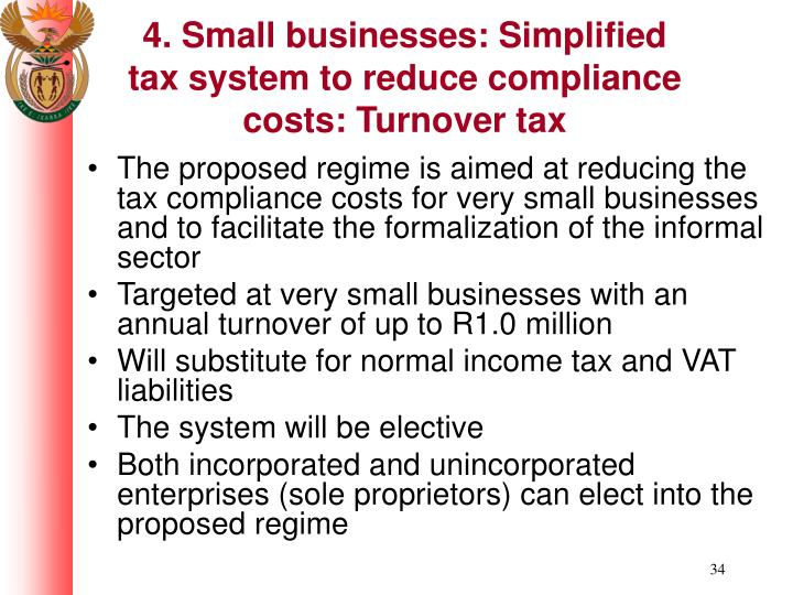 4. Small businesses: Simplified tax system to reduce compliance costs: Turnover tax