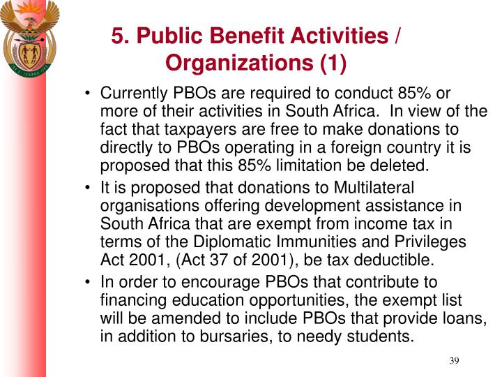 5. Public Benefit Activities / Organizations (1)