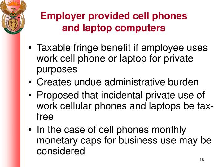 Employer provided cell phones and laptop computers