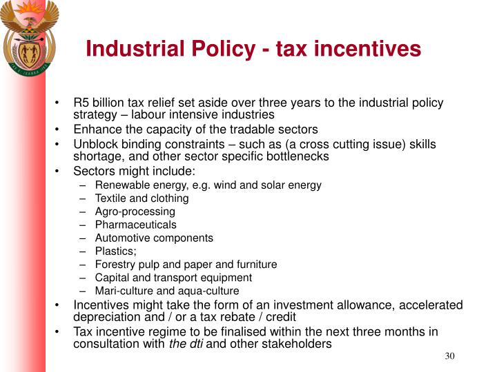 Industrial Policy - tax incentives