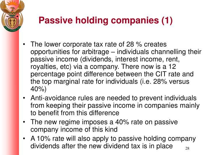 Passive holding companies (1)