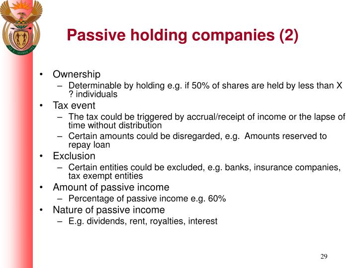 Passive holding companies (2)