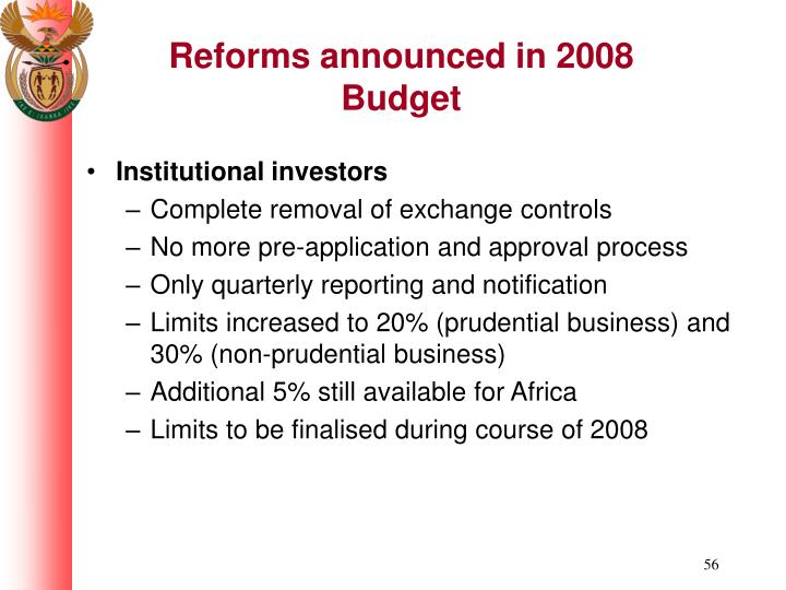 Reforms announced in 2008 Budget