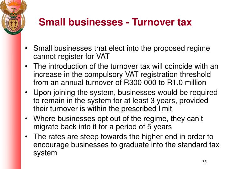 Small businesses - Turnover tax