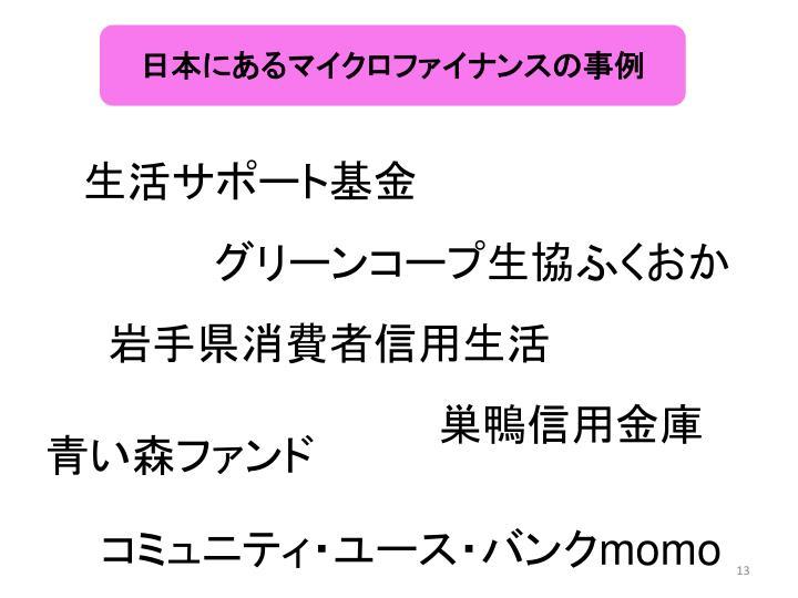 日本にあるマイクロファイナンスの事例