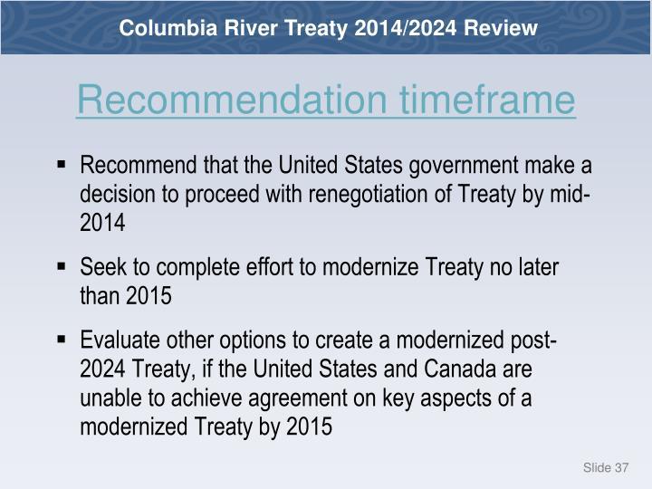 Recommendation timeframe
