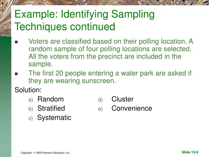Example: Identifying Sampling Techniques continued