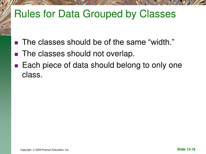 Rules for Data Grouped by Classes