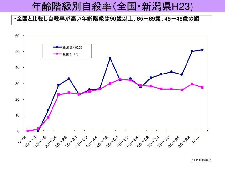 年齢階級別自殺率(全国・新潟県
