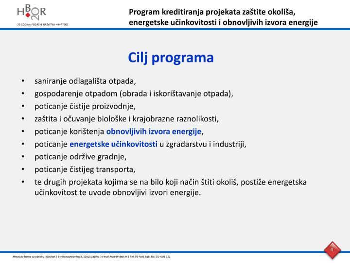 Program kreditiranja projekata zaštite okoliša,