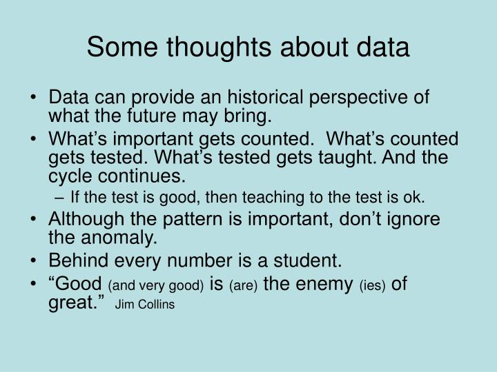 Some thoughts about data