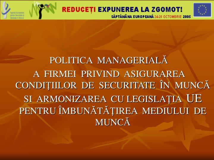 POLITICA  MANAGERIAL