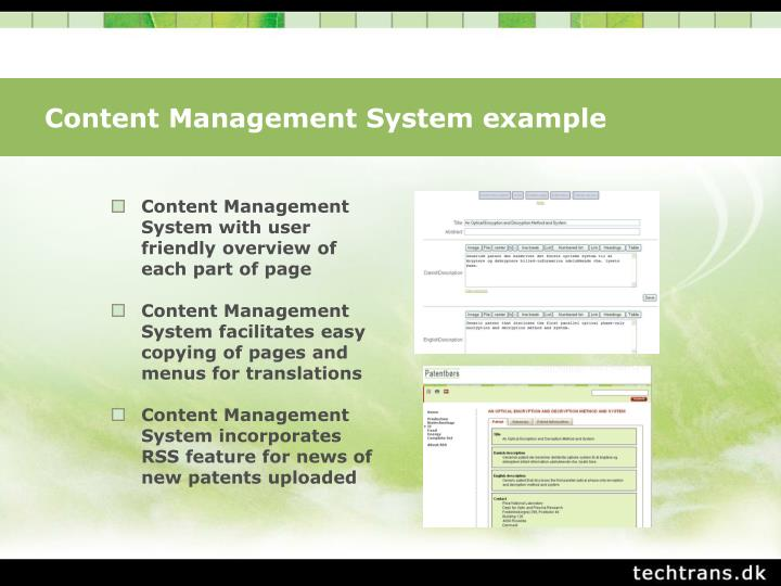 Content Management System example
