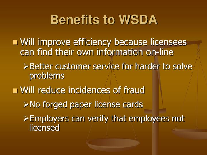 Benefits to WSDA