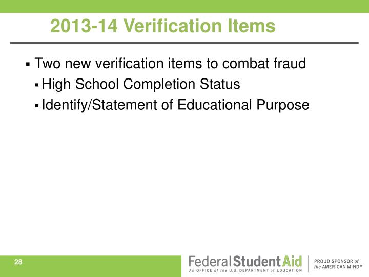 Two new verification items to combat fraud