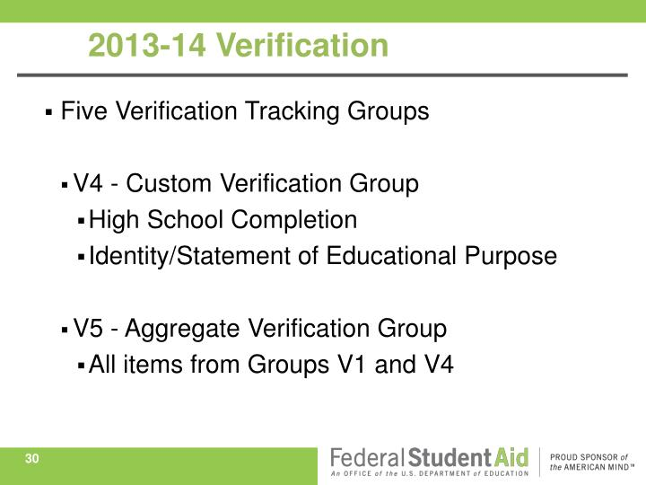 Five Verification Tracking Groups