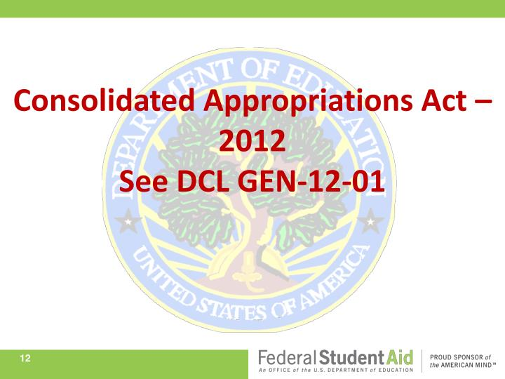 Consolidated Appropriations Act – 2012