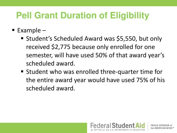 Pell Grant Duration of Eligibility