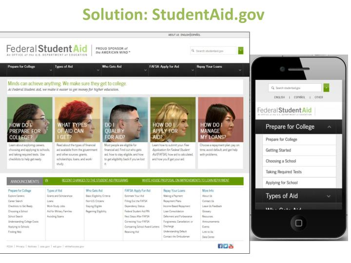 Solution: StudentAid.gov