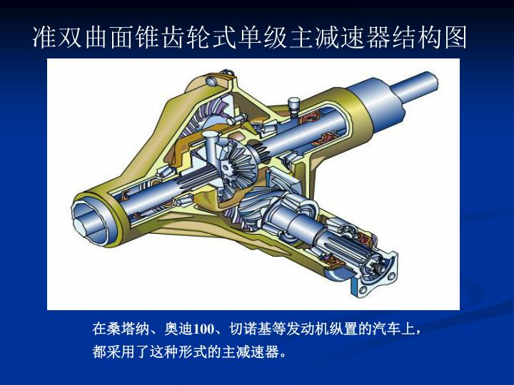 准双曲面锥齿轮式单级主减速器结构图