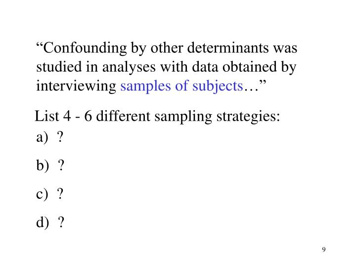 """Confounding by other determinants was studied in analyses with data obtained by interviewing"