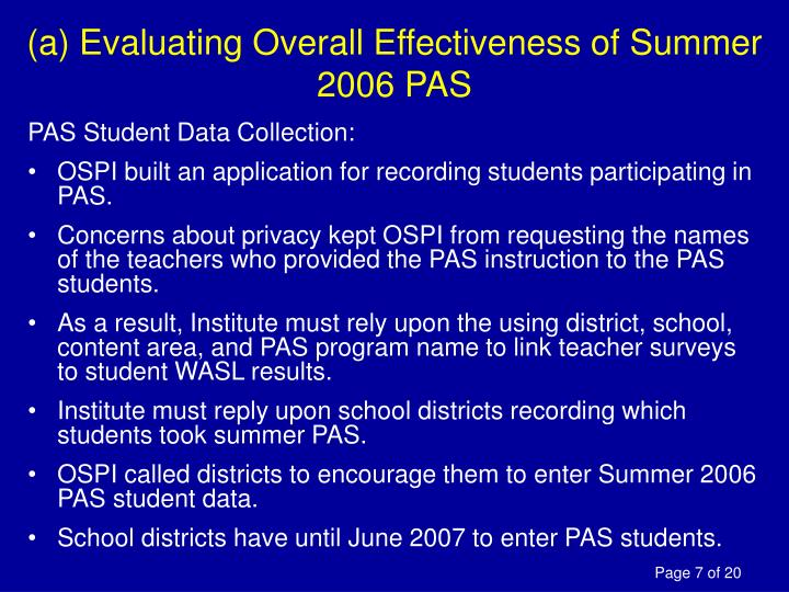 (a) Evaluating Overall Effectiveness of Summer 2006 PAS