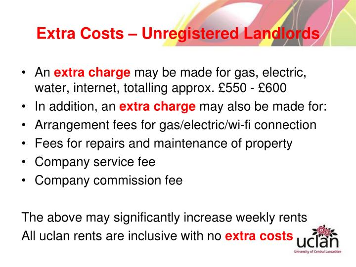 Extra Costs – Unregistered Landlords