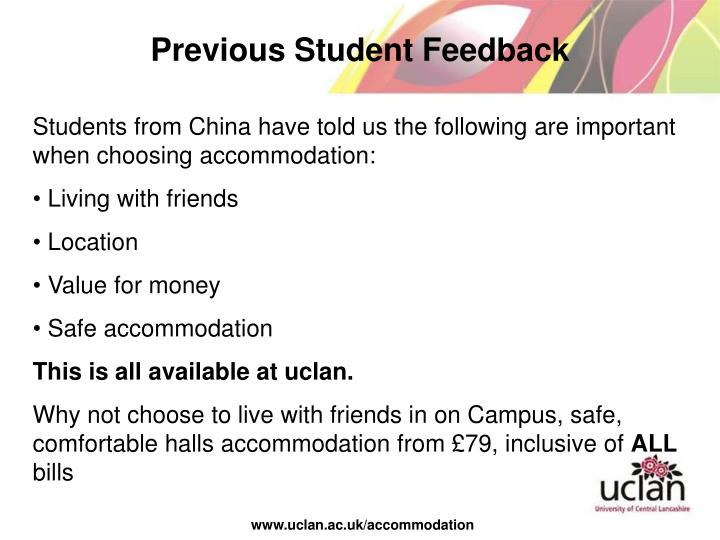 Previous Student Feedback