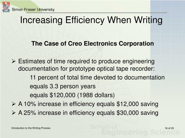 Increasing Efficiency When Writing