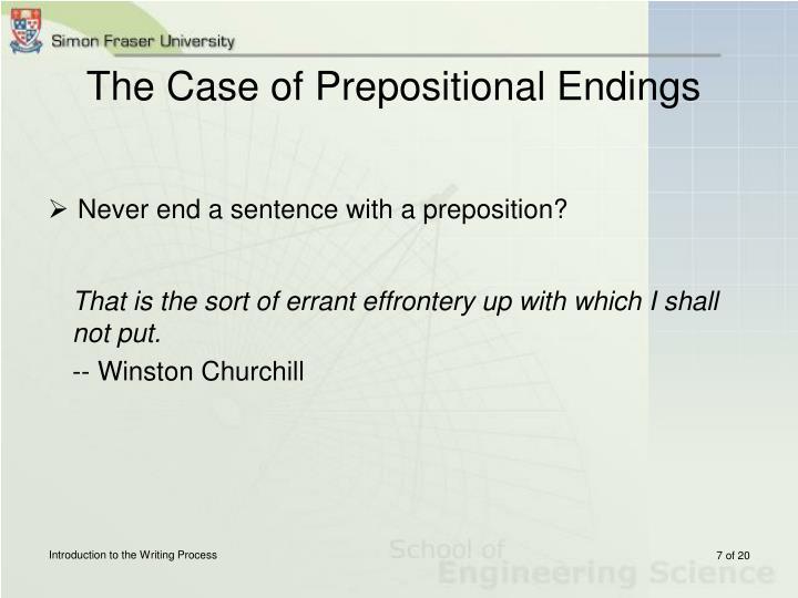 The Case of Prepositional Endings