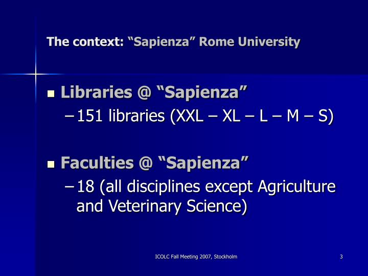 The context sapienza rome university