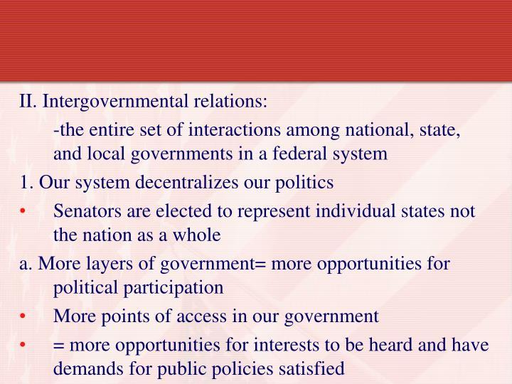 II. Intergovernmental relations: