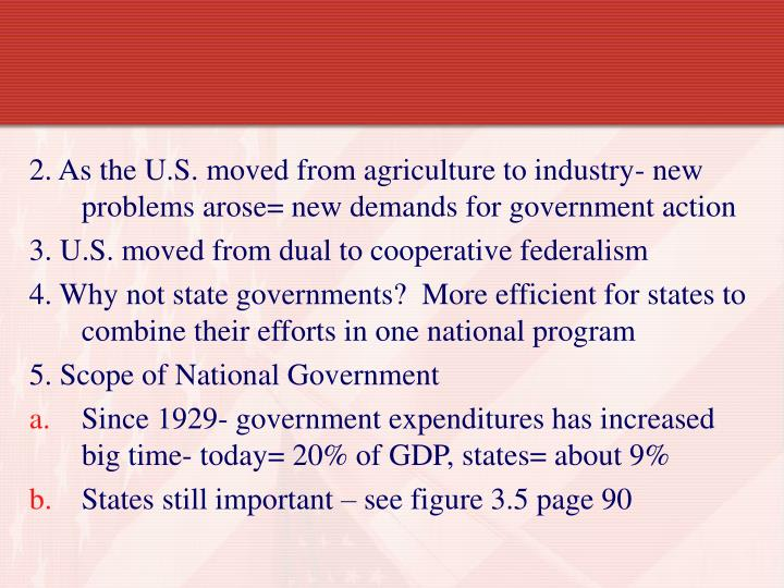 2. As the U.S. moved from agriculture to industry- new problems arose= new demands for government action