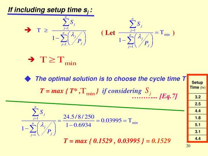 If including setup time s