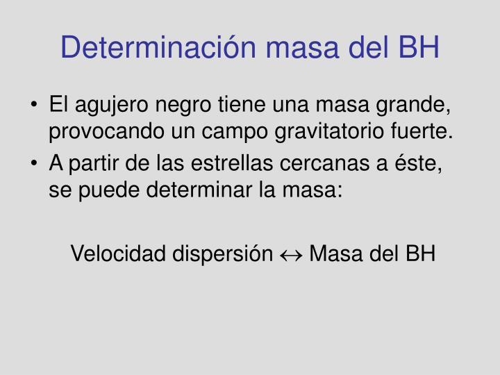 Determinación masa del BH