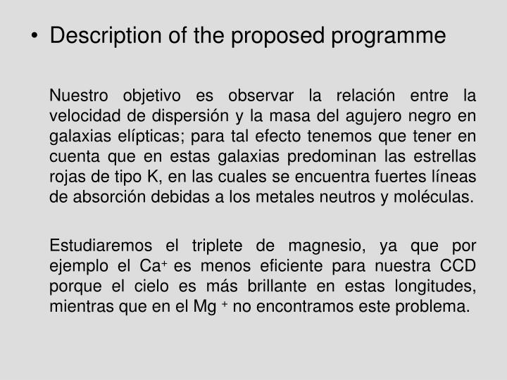 Description of the proposed programme