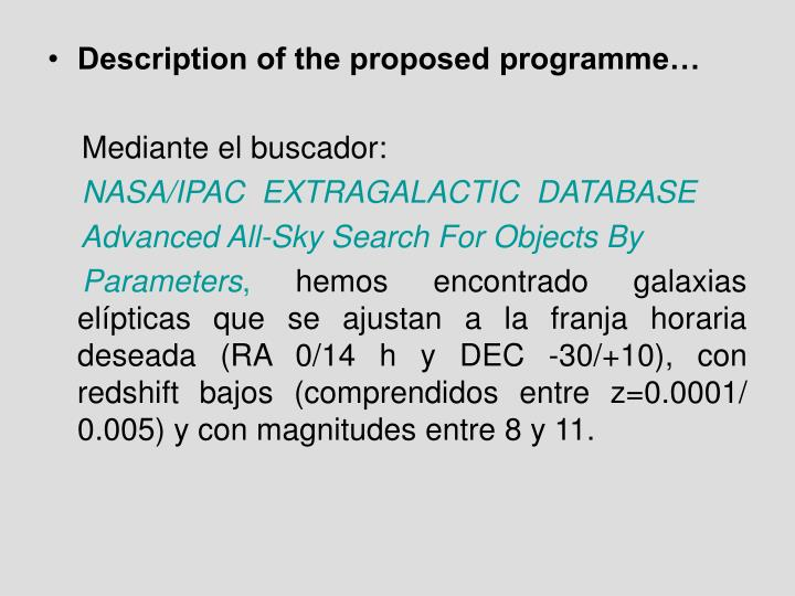 Description of the proposed programme…