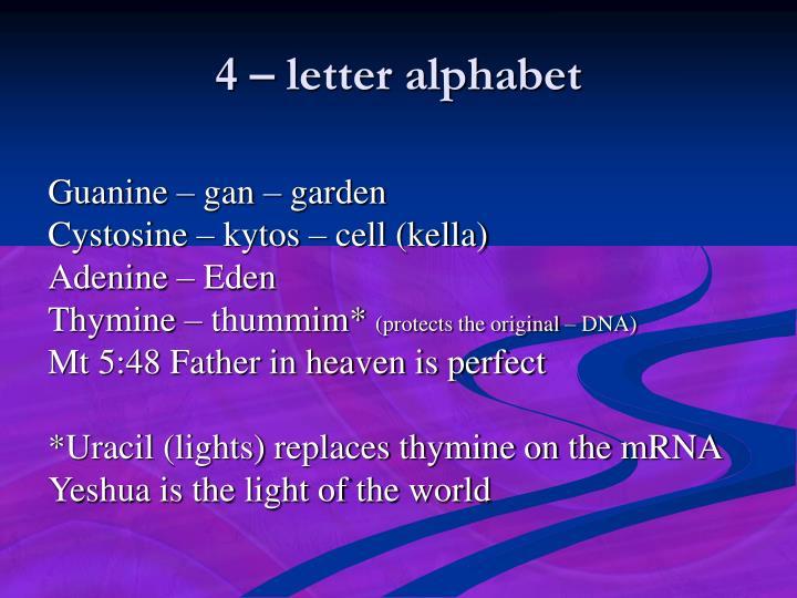 4 – letter alphabet